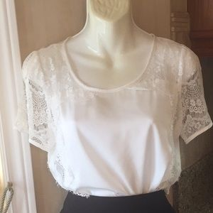🛍2for$40White blouse with lace short sleeve NWOT